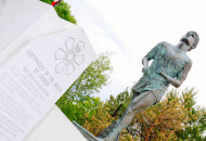 terry fox monument with trees in the background
